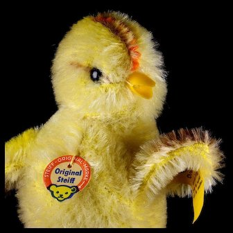 Rare Steiff Seated Plump Ball Chick Chicken Bird All ID Gorgeous Coloring Working Squeaker
