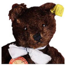 Early Post WWII Steiff 5xJointed Dark Brown Original Teddy Bear All ID Red-Printed Chest Tag US-Zone Flag Remnant Squeaker