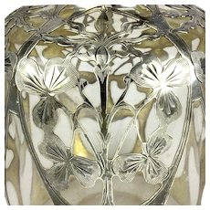 Heavy Antique Gorham Sterling Silver Overlay Perfume Bottle Gorgeous Silver Work