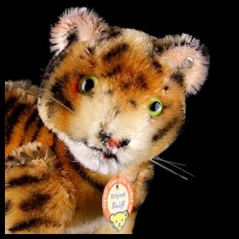 Gorgeous and Rare Steiff 1950s 5xJointed Tiger Wild Cat 2 IDs