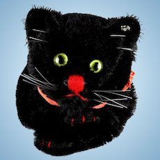 Rare and Gorgeous Lustrous MIDNIGHT BLACK Steiff Tom Cat (or not ) Hand Puppet ID Halloween (or not)