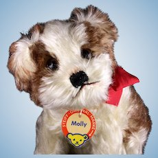 Gorgeous and Rare Middle Sister Steiff Seated Molly Puppy Dog ID
