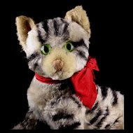 Rare Early-Post WWII Steiff Largest Sister 5x-Jointed KITTY Cat Kitten Early Continuous Stripes US-Zone Flag
