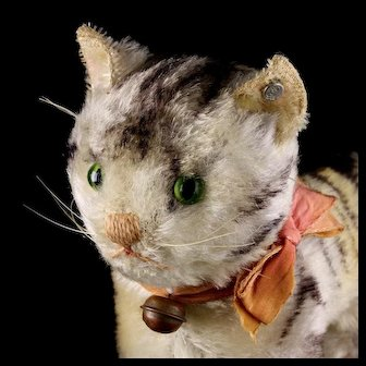 Rare Pre-WWII Design Steiff Gray Tabby Cat Kitten w Continuous Stripes ID