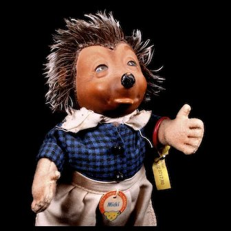 Steiff 1950s Rubber Head Micki Mother Hedgehog Doll Figure All IDs