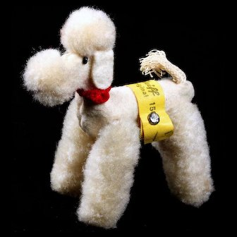 Steiff Earliest Model White Jointed Wool Miniature Pom Pom Poodle Dog All ID Bild Lilli Doll Companion