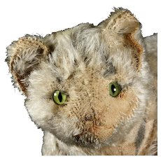 Antique C. 1910 Steiff 6xJointed Tabby Striped Cat Kitten Unbelievable Condition Early Long Tail Trailing F Button