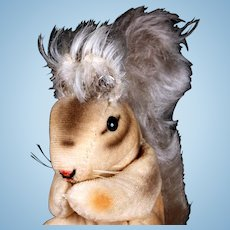 Rare Steiff Early-Post WWII Velveteen Squirrel Eichhorn w Mohair Tail One Size Only 1951 to 1956 ID