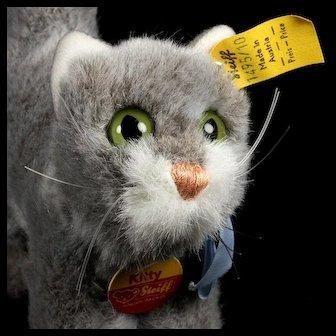 Tiny Adorable Fuzzy Steiff Gray and White KITTY Cat Kitten All ID Near Mint