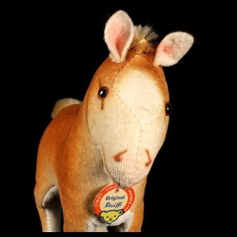 Rare Sweet Gorgeous Near Pristine Coloring Steiff Velveteen Foal Baby Horse ID 1952-1961 Only