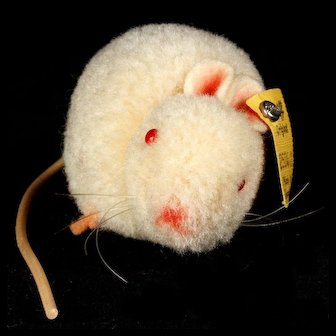 Tiny '50s Steiff Albino Wool Miniature Mouse Red Glass Eyes All ID