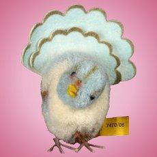 Rare Steiff Wool Miniature PomPom Dove Pigeon Taube Bird Lovely Scalloped Fan Tail All ID