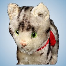Sweet Largest Sister Early Post WWII Steiff Gray Tabby Cat Kitten with Continuous Stripes Prewar Design
