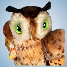 Rare Next to Largest Sister Steiff Wittie Owl Bird All ID Magic Eyes