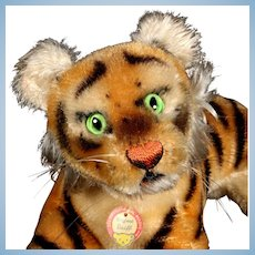 Little Brother Early Steiff Reclining Tiger Cub Jungtiger Wild Cat ID Magic Eyes!