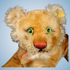 Rare 1950s Steiff Next to Smallest Reclining Lion Cub Wild Cat All ID MAGIC EYES