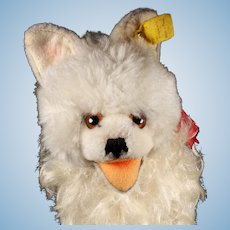Rare Early 1960s Steiff All-White Cosy Blanko Spitz Happy Puppy Dog 2 IDs