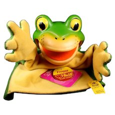 Unusual Steiff Happy Froggy Frog Hand Puppet All ID and He Talks!