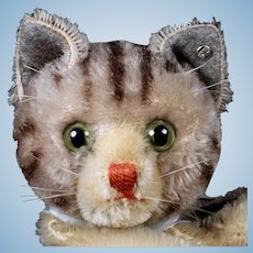Steiff Gray and Black Tabby Striped Cat Kitten Hand Puppet ID