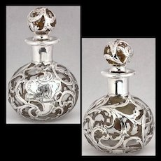(Very) Clear Glass Antique Alvin Sterling Silver Overlay Perfume Bottle