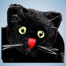 Rare Gorgeous and Sweet Steiff Midnight Black Cat Kitten Hand Puppet for Halloween or Any Time