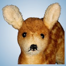 Big Brother Rare Early Post-WWII Steiff Wool Plush Baby Deer Fawn Jungreh US-Zone Flag