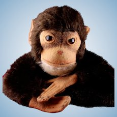 Handsome and Versatile Steiff Jocko Chimpanzee (Not Monkey!) Mohair and Felt Hand Puppet