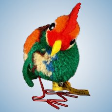 Tiny Gorgeous Multi-color Steiff Wool Miniature PomPom Rooster Hahn Bird Metal Legs All ID
