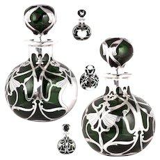 Rare HUGE Antique Green Glass Gorham Sterling Silver Overlay Perfume Cologne Decanter Bottle