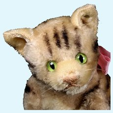 Rare Early Post WWII Steiff Middle Sister 5xJointed Gray Continuous Tabby Striped Cat Kitten KITTY ID