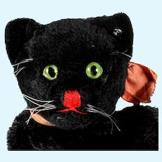 Rare Steiff Midnight Black Tom Cat Hand Puppet ID Not Just for Halloween
