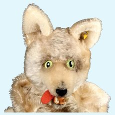 Handsome and Rare Steiff Loopy Wolf Hand Puppet w Scary Fangs ID