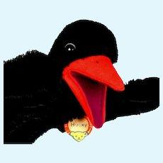 Rare Steiff Hucky Raven Bird Hand Puppet ID TALKS!