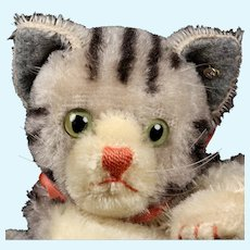 Black and Gray Steiff Tabby Cat Kitten Hand Puppet ID