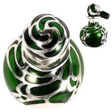 Antique c 1900 Green Glass Gorham Sterling Silver Overlay Perfume Bottle