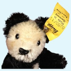 Rare Tiny Steiff Bendy Panda Teddy Bear w Flexible Limbs 2 IDs Made for US Market Exclusively