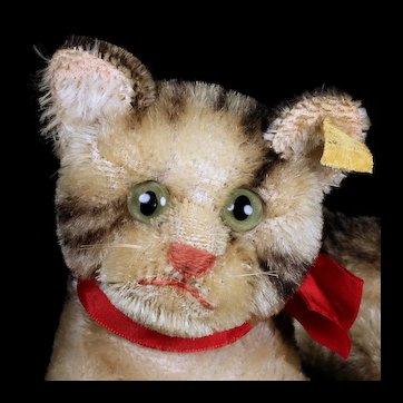 Earliest Model Middle Sister Rare Steiff Reclining Tabby Cat Kitten Fiffy 2 IDs