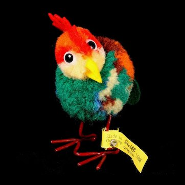 Early Post-WWII Model Steiff Wool Miniature PomPom Rooster Hahn Bird All ID Gorgeous Coloring