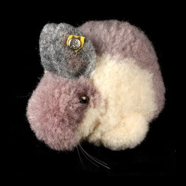 Tiniest Brother Steiff Gray and White Wool Miniature PomPom Rabbit Bunny Hase ID