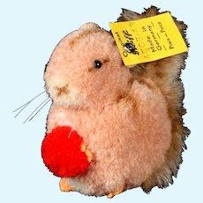 Rare Steiff Wool Miniature PomPom Squirrel Holding a Big Nut All ID Near Mint