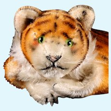 Rare UNCATALOGUED Early Steiff Tiger Wild Cat Hand Puppet ID
