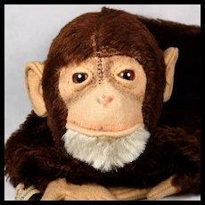 Rare Earliest Post WWII Model Steiff Baby Jocko Chimpanzee Hand Puppet Button US-Zone Flag