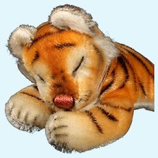 Rare Adorable Little Brother Sleeping Steiff Floppy Tiger Wild Cat Gorgeous Coloring 1956-1961 Only