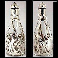 Not Often Seen Sterling Silver Overlay Barber Bottle