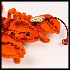Rare Teeny Tiny Adorable Steiff Felt Body Crabby Lobster 2 IDs Amazing Coloring