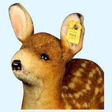 Rare Early Post WWII Steiff Wool Plush Big Baby Deer Fawn Jungreh All ID