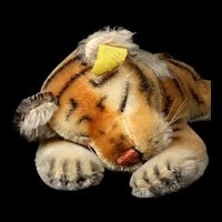 Rare 1950s Steiff Little Brother Sleeping Floppy Tiger All ID