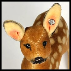 Tiniest and Earliest Baby Brother Steiff Velveteen Deer Fawn Jungreh Button and US-Zone Flag