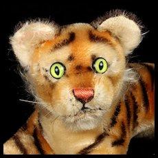 Little Brother 1960s Steiff Reclining Tiger Cub Jungtiger