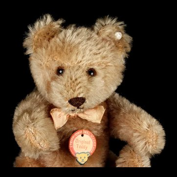 Rare Early-Post-WWII Next to Smallest Steiff 5xJointed Original Teddy Bear Red-Printed Chest Tag Button US-Zone Flag ADORABLE